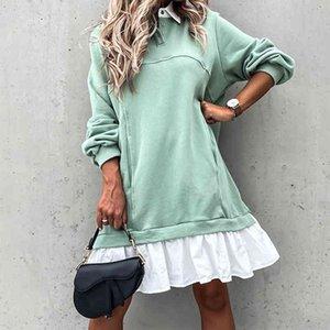sweatshirt Winter Women Retrieve Long loose Mouwen Plisse Shirt Jurk Polo collar Female casual Patchwork Hoodies dress