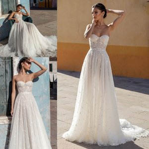New Arrival Sweetheart Wedding Dresses 2022 Gali Karten Lace Appliques Tulle Court Train A Line Bridal Gowns Illusion