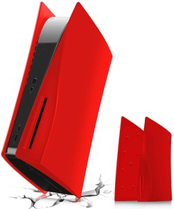 Plates for PS5 Console, Hard Shockproof ABS Anti-Scratch Dust-Proof Faceplates Case Cover Compatible with Playstation 5 Console Disc Edition-Red