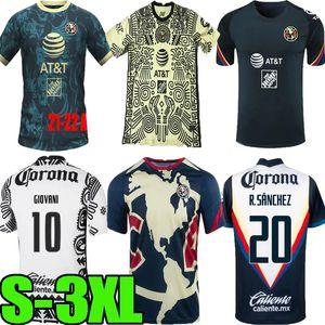 2021 2022 LIGA MX Club America Away Troisième Soccer Maillots 20 21 22 Blanc Blanc 3rd Giovani Castillo R.Martinez Kit de chemise de football jaune personnalisé S-3XL