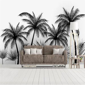 Milofi 3D Wallpaper Mural Black And White Sketch Style Tropical Rainforest Coconut Tree Nordic TV Background Wall Wallpapers