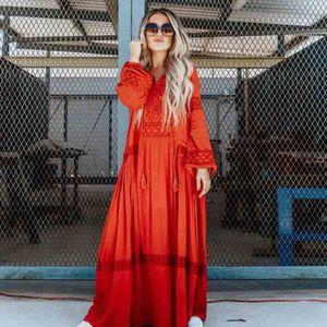 Vintage 2020 White Women Dress Bohemian V Neck Beach Sexy Long Dresses Embroideried Long Sleeve Maxi Dress Vestidos Femininos Boho Dress
