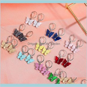 Dangle Chandelier 2Pairsets Boho Butterfly Stud Simple Acrylic Sier Color Small Earrings Girls Fashion Statement Jewelry Drop Delivery