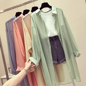Women's Trench Coats Korean Loose Sun Coat Women 2021 Summer Fashion Thin Collar Single-breasted Long Sleeve Solid Color Protection
