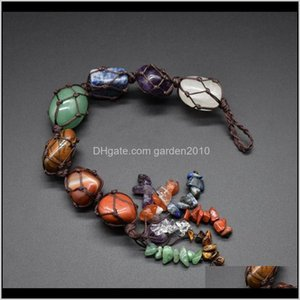 Pendants Arts Crafts Gifts Home Garden Drop Delivery 2021 Natural Crystal Stone Pendant 7 Chakra Tumbled Bracelet Tassel Hanging Ornament Sto