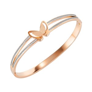 Роскошные браслеты для женщин Titanium двойной слой роза Золотая алмазная бабочка Ювелирные изделия девушки День Святого Валентина подарки