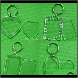 Party Favor Plastic Keychains Diy Studio Acrylic Transparent Po Frame Keyring Square Heart Shaped Key Buckle Originality Mens Womens 0 Fuexc