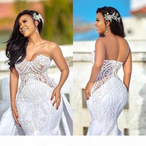 African Plus Size Wedding Dresses with Detachable Skirts Sweetheart Castle Mermaid Wedding Gowns Appliqued Satin Country Bridal Dress
