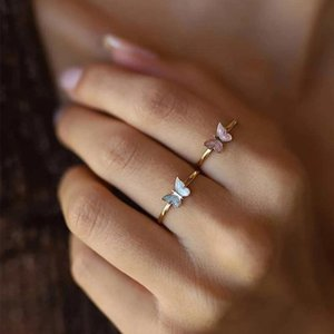 Cluster Rings Trendy Gold Butterfly For Women Men Lover Couple Set Friendship Engagement Wedding Open 2021 Jewelry