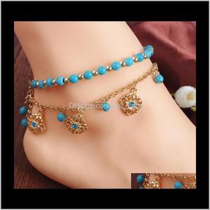 Anklets Drop Lieferung 2021 Europäischer und amerikanischer Schmuck Böhmischer Stil Türkis Perlen Quaste Diamond Anklet-Kombination Ylner