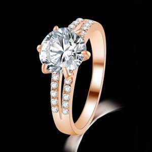 خاتم الزواج خاتم الخطوبة 18 كيلو الذهب مطلية بالذهب الشمبانيا إارسال الذاكرة تصميم الأحجار الكريمة خواتم WJL2151