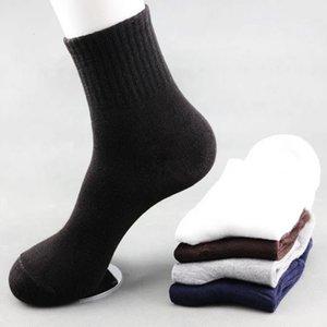 10 adet = 5 Pair / lot Katı Renk Çorap Pamuk Erkekler Moda Tüp Çorap Kış Erkek Rahat Iş Nefes