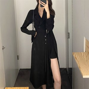 Casual Dresses Elegant Sexy Vintage Black Empire V-neck Long Sleeve High Street Solid Midi Dress Autumn Clothing Female