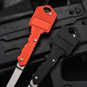 Key Shape Mini Folding Knife Fruit Knife Multifunctional Key Chain Knife Outdoor Saber Swiss Self-Defense Knives EDC Tool Gear EEB6426