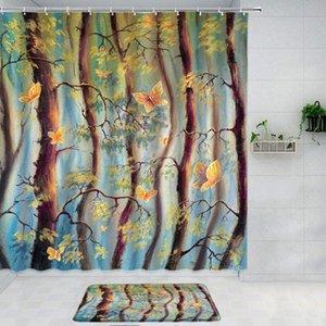Shower Curtains Painted Beautiful Tree Vine Golden Butterfly Curtain 2pcs Set Bath Mat Rug Aesthetic Bathtub Decor Bathroom Products