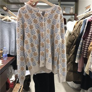 Ladies Sweaters Spring and autumn long sleeve knitted sweater new retro design jacquard crew neck leisure fashion