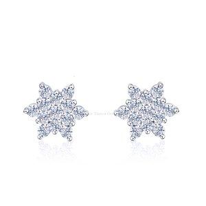 Tianyu Gems Zirconia Stud Sier Jewelry Accessories Handmade Fashion Trendy Cute Snowflake Women Earrings Gifts