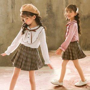Beyaz Bluzlar Casual Gömlek Yay Çocuklar Okul Bluz Kızlar Için Kelebek Kollu Genç Giysiler 988 V2