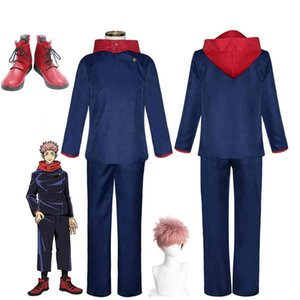 Jujutsu Kaisen Yuji Itadori Cosplay Costume Halloween Party Uniform Pullover Hoodies Pants Outfit for Men Women