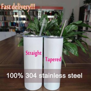 DHL Factory Direct Sale 20oz Sublimation Tumblers Blanks 304 Stainless Steel Tapered Straight Tumblers Cups Water Bottles Coffee Mug DIY can 496