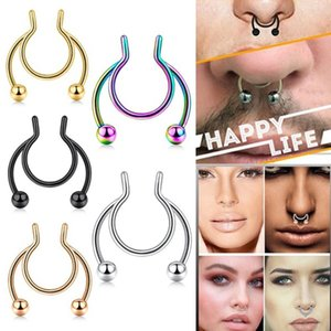 Unisex Fashion Stainless Steel Non Piercing Clip Ring Stud Accessories Fake Septum Nose Hoop Rings Body Jewelry