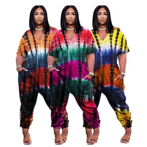 2021 Gradient Printing Women Jumpsuits Summer Short Sleeves Colorful Print Casual Nightclub Party Comfortable Rompers Real Images