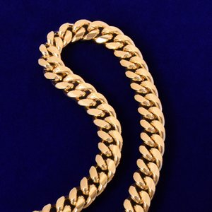 12mm Miami Cuban Chain Mens Stainless Steel Necklace Gold Color Plated Hip Hop Fashion Rock Jewelry