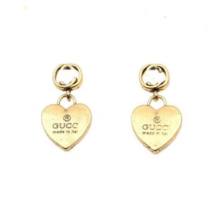 Women Classic Designer Brand Letter Print High Quality Alloy Heart Earrings Gold Color Word Ear Studs EarRing for Womens Fashion Jewelry Accessories
