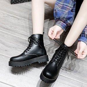 Ботинки 2021 черный для женщин мода женские охватывающие кружевные круглые ножки женские туфли дамы боевые пинетки