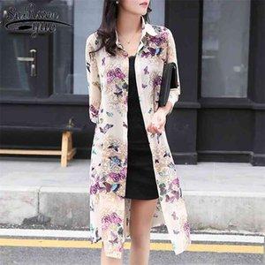 Летняя защита от солнца женщин длинные блузки тонкий цветочный шифон кардиган половина рукава сыпучих цветок печать блузка корейская одежда 4152 210421