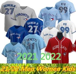 Custom Toronto 2021 2022 Blue Jays Jersey 11 Bo Бихет 27 Владимир Герреро-младший Кавана Biggio Hyun-Jin Ryu Yamaguchi Randal Grichuk Drury Hernandez