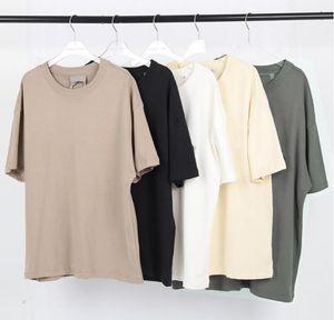 High Street Men and Women Parejas Letter Cofre T Shirt Tide Marca Marca Pure Algodón Doble Hilo Llano Weave S-XL