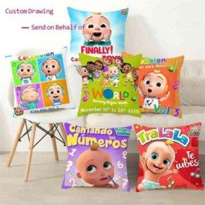 Novel cocomelon cartoon throw pillow case linen cushion covers kids baby room bedding ornaments car sofa pillowcase 45cm comelon family friends printing gyqqq
