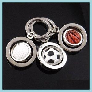 Keychains Fashion Aessories3D Sports Rotating Basketball Football Golf Keychain Keyring Souvenirs Pendant Keyfob Chain Ring Key Holder Rotat