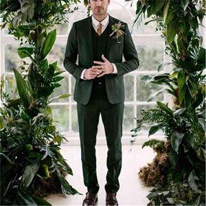 Se adapta al último abrigo Pantalón de pantalón verde TUXEDO SLIM FIT GROOM CUSTOM BLAZER Jacket + Pant + chaleco adaptado