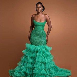 Verde sequine sereia vestidos de noite strapless ruffles tier tule saia ocasião especial vestido longo vestido de baile