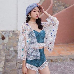 Swimwear Korean lovely girl fairy fan swimsuit female conservative student little fresh cover shirt conservative sweet swimsuit