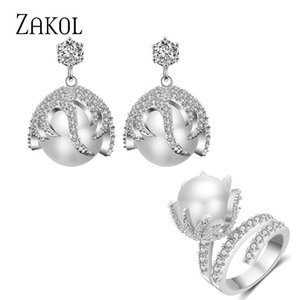 Earrings & Necklace ZAKOL Luxury Gold Color Clear Cubic Zirconia Round Pearl Ring Jewlery Sets For Women Birthday Christmas Gift SP3398