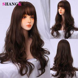 Shankke Длинные вьющиеся Cosplay Синтетические парики с париками челка для черных женщин Среднего длины Термостойкий парик Lolita