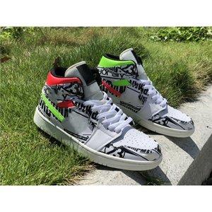 İki Renkli Kanca Graffiti Sloganı Üst Jumpman 1 Basketbol Ayakkabı Erkekler Kadınlar Için Eğitmenler Sneakers Spor Des Chaussures Zapatos ile Kutusu Tam