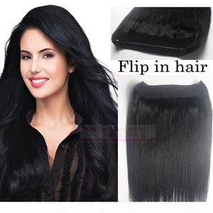 "ZZHAIR 16""-32"" 100% Brazilian Remy Human hair Halo Hair Flips in on Human Hair Extension 1pcs set Non-Clips #1 Jet Black 80g-200g"
