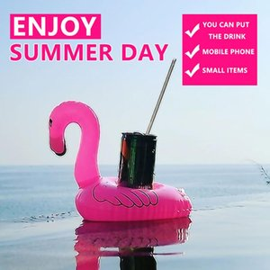 Children's Bath Toys Water Park Inflatable Drink Cup Holder Tropical Flamingo Party Decoration Float Garden Swimming Pool Gift Wrap
