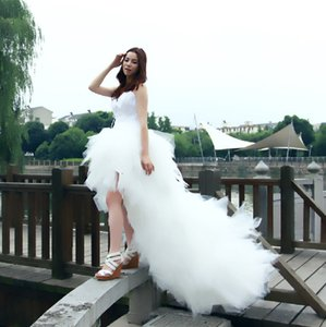 Dress Eleant Feather Strapless Lace Up Princess Luxury Front Short Back Long Wedding Dresses Plus Size