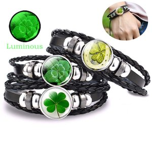 Luminous Shamrock Four-leaf Clover Bracelet Glass Cabochon Leather Multilayer Braided Bracelets St Patrick's Day Fashion Jewelry Bangle