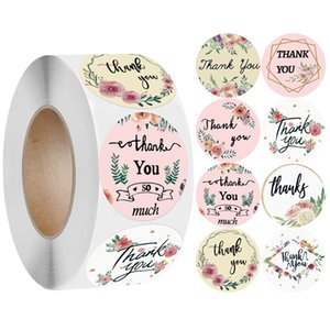 1inch Flowers Thank You Adhesive Labels Stickers in 8 Designs Coated Paper Rolling Packaging Sealing Sticker with High Quality