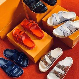 Мужчины тренер Мул высшее качество тиснение замшевые теленки кожаные сандалии дизайнер слайд-тапочки два ремня с металлическими пряжками обувь 293