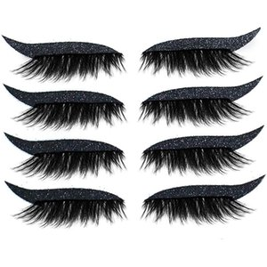 False Eyelashes 8pcs=4Pairs Reusable Lashes Eyeliner And Eyelash Stickers Waterproof Easy To Use Remove Tool
