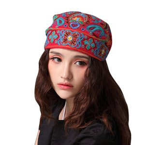 Women Hat Mexican Style Ethnic Vintage Embroidery Flowers Bandanas Red Print Hat Spring winter hats Ethnic style wild retro art and leisure