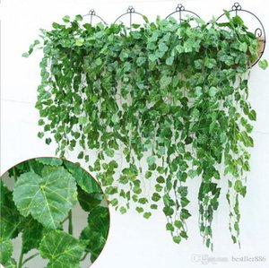 Green Artificial Fake Hanging Vine Plant Leaves Foliage Flower Garland Home Garden Wall Decoration IVY Suppli Decorative Flowers & Wreaths