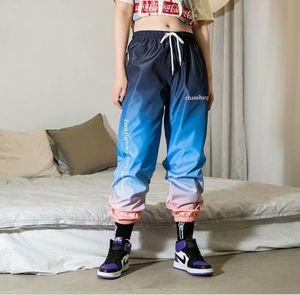Hip Hop Womens Camo Cargo Pants Casual Gradient Color Combat Camouflage Trousers High Waist Sweatpants
